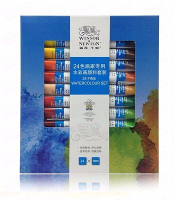 Professional Winsor&Newton 24 Colors Watercolor Paint 10ML Tube for Art Supplies
