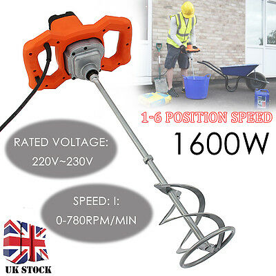 Paddle Mixer Electric Plaster Mixing Paint Stirrer Single Plastering Whisk 1600W