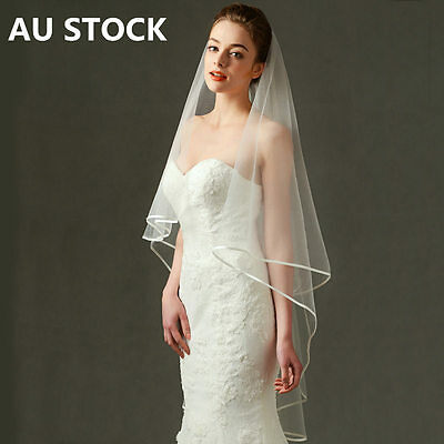 AU STOCK New Bridal Wedding Veil White/Ivory 59 inch Long Stain Edge No Comb