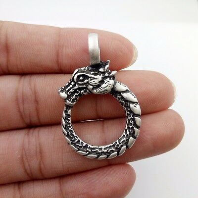 viking ouroboros norse dragon silver ring Pendant Necklace Viking charms