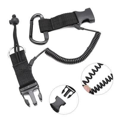 Nylon Scuba Diving Dive Spring Coil Camera Lanyard Quick Release Buckle Clips