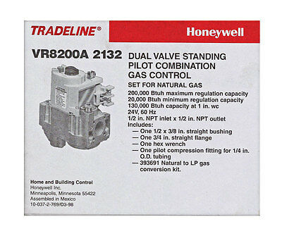 VR8200A 2132 Honeywell Tradeline Dual Valve Standing Pilot Combo Gas Control