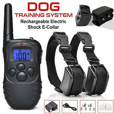 Pet Dog Training Collar Rechargeable Electric LCD 100LV Shock (Two Collars) USA
