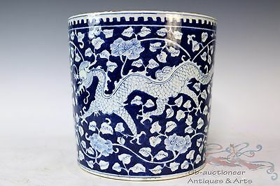 Blue and White Beautiful Chinese Porcelain Flowers Dragon Brush Pot