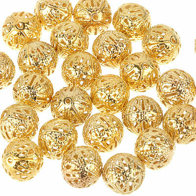 New Fashion 100Pcs Gold Plated Metal Round Hollow Flower Ball Spacer Beads 10mm