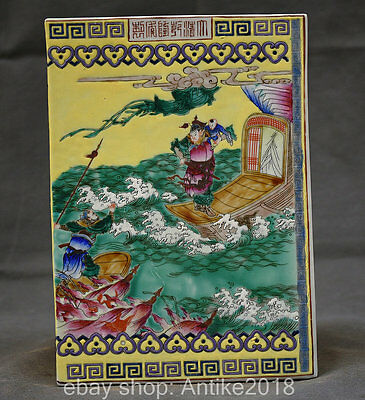 """9.68"""" Rare Marked Chinese Colour Porcelain Dynasty Phoenix Immortal Book Statue"""