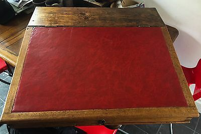 Antique Victorian Clerks Writing Slope In Pine And Mahogany.Home Office / Laptop