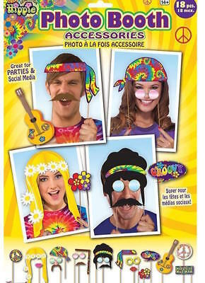 **  Hippie Photo Booth Props 70S New ** 18 Pc Party Selfie Wedding