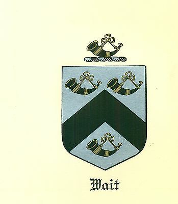 *Great Coat of Arms Wait Family Crest genealogy, would look great framed!