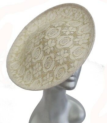 Womens Church Kentucky Derby Carriage Wedding Sinamay Cocktail Fascinator Ivory