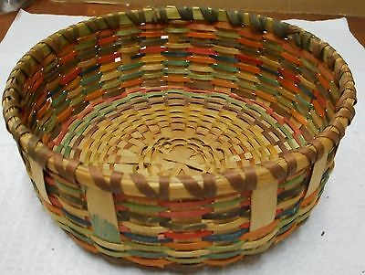 Vtg antique AMERICAN INDIAN BASKET~early 1900s~WOOD splint~natural DYES 7x2""