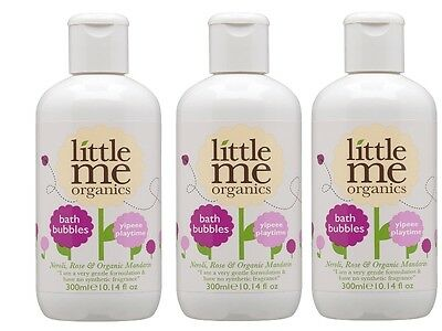 Pack of 3 New Little Me Organics Yippee Playtime Bath Bubbles 300ml Bottles