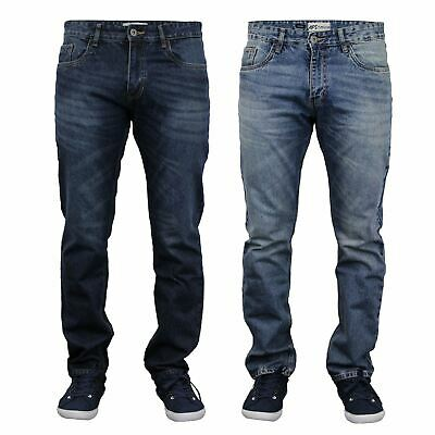 New Mens Casual Regular Fit Straight Leg Jeans Denim Blue Wash Pants Trousers