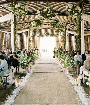 "45""wide x 15-30-45ft Natural Burlap Sewn Side Aisle Runner Rustic Wedding Decor"
