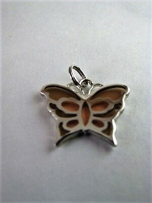 Vintage Sterling Silver And Glass Butterfly Pendant