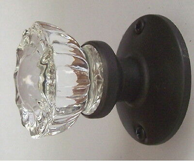 Set of 3 Fluted Crystal Glass & Oil Rubbed Bronze Passage Door Knob Set Save 13%