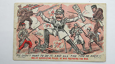 WW1 Vintage Comic Patriotic Postcard From Serviceman Anti-Kaiser Serbia Russia