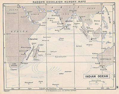 1895 Antique Map of Ireland / the Indian Ocean (2 maps on 1 sheet)
