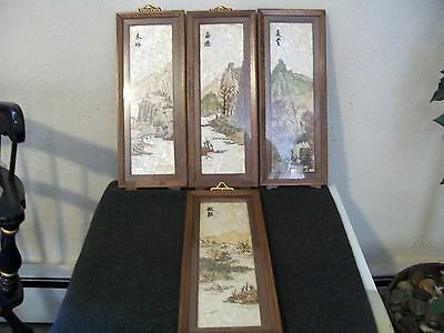Four Asian Vintage Chinese Shell Art Framed Shadow Boxes Mother of Pearl Etc.