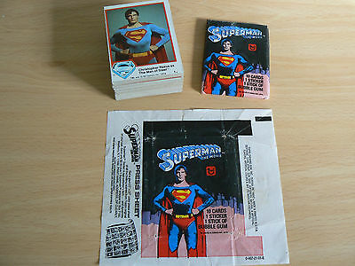 Topps Superman Trading Cards Complete Set With Unopened Wax Pack & Wrapper 1978