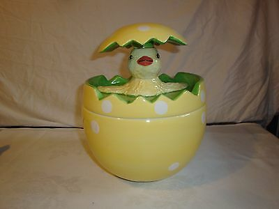 Global Design Kate Williams hatching bird chick from egg cookie jar yellow