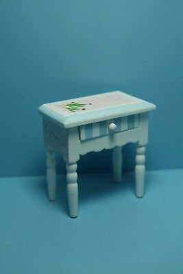 Dollhouse Miniature Wood Pastel Floral Painted Night Stand Side Table EMWF491