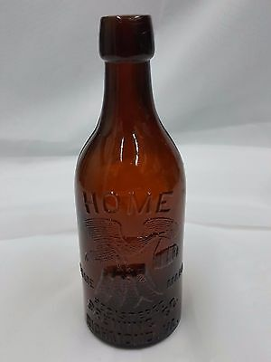 Antique Amber Glass Home Brewing Co Bottle From Richmond Virginia