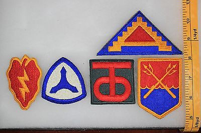 US WW2 Through Vietnam Cut Edge 7th Army 25th 90th Infantry 5 Patch Lot NA70