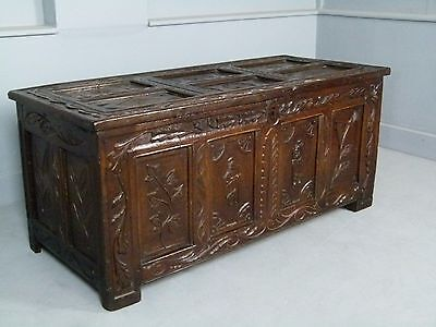 Unusual 17th Century Figural Carved Oak Chest / Coffer