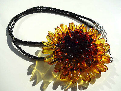 "Baltic Amber Necklace/Pendant /Brooch ""FLOWER"""