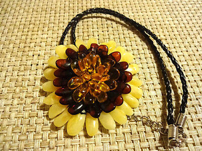 """Baltic Amber Necklace/Pendant /Brooch """"FLOWER"""""""