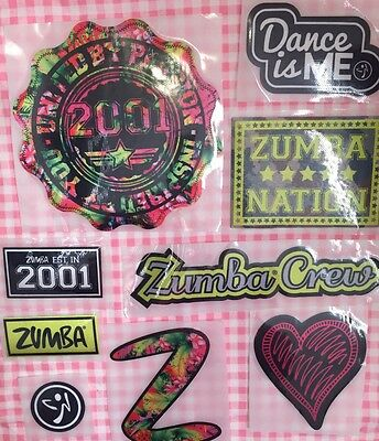 Vtg Zumba Patches Bag 9 total ZUMBA CREW Dance United by Passion ALL NEW IRON ON