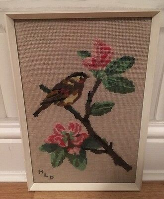 Vintage Retro Glass Framed Needlepoint Embroidery Birds Picture Shabby Chic