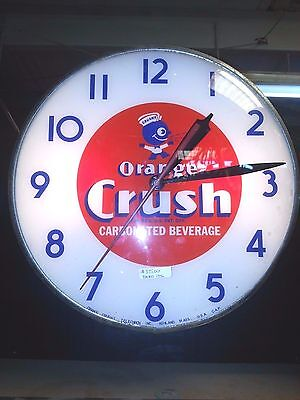 1950's Orange Crush Large Wall Clock with Reproduction Face