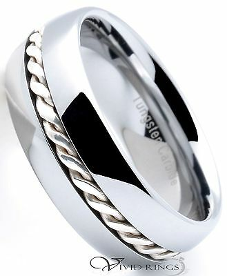 Mens Tungsten Carbide Ring 925 Silver Braided Band 8mm Size 7.5 to 14.5