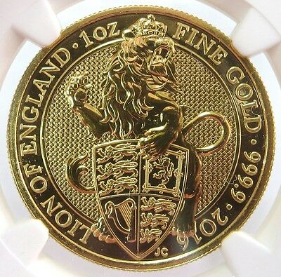 2016 Gold Great Britain 100 Pounds Queen's Beasts The Lion Ngc Mint State 69