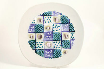 Signed NW Studio Art Pottery Display Décor Plate Green Blue Purple Stripes Dots