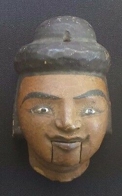 Antique Burmese Painted Wooden Burma PUPPET HEAD Glass Eyes Mouth Moves