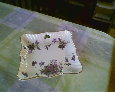 "VINTAGE HAMMERSLEY VICTORIAN VIOLETS BONE CHINA 6 1/4"" x 6 1/4"" SQUARE TRAY"