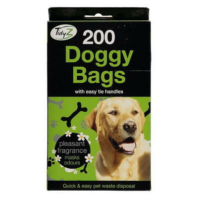 DOGGY 200 BAGS Scented Pet Pooper Scooper Bag Dog Cat Poop Waste easy tie handle