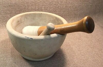 "Vintage MORTAR & PESTLE CERAMIC Large Apothecary With Wooden Handle 9"" Diameter"