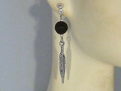 Gemstone Earrings- Lava Rock, Feather, Silver Plated- Tribal/Native- Mens/Womens