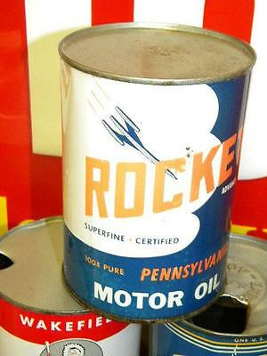 Nice Graphic Rocket Motor Oil 1 Quart Can FULL Wall St. New York