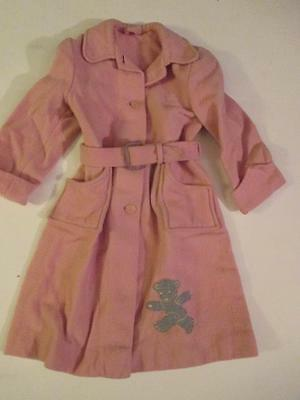 Vintage 1954 Baby Toddler Coat, Pink Wool with Belt, Worn by 2 year Old