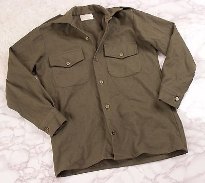 Vintage army green wool shirt military mens button up olive field utilitarian