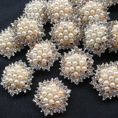 Luxury Round Grade A Crystal Pearl Rhinestone Ribbon Buckle Sliders