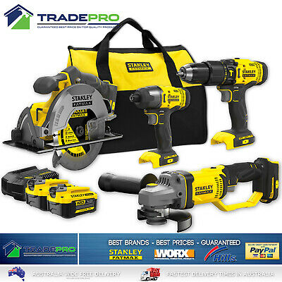 18V Combo Kit 8pc Stanley® 4.0AH Fatmax C/Less Drill Impact Driver Grinder & Saw