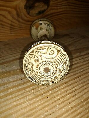 Antique Brass Door Knob Set Eastlake Victorian