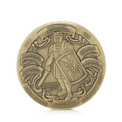 Gold Plated Put on the Whole Armor of God Commemorative Challenge Coin Token Hot