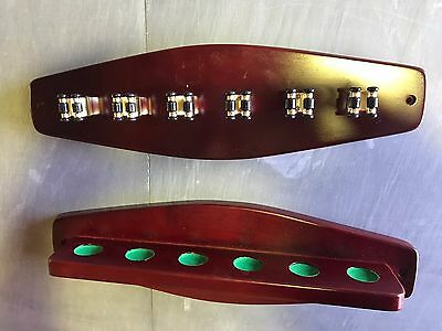 Walnut Cue Rack with 6 Brass Cue Clips for Pool Snooker Billiard Free Post